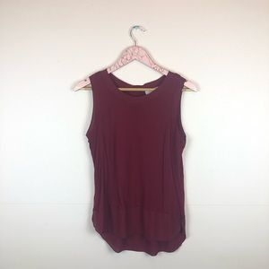 Ann Taylor LOFT Red Button Back Tank Top size S